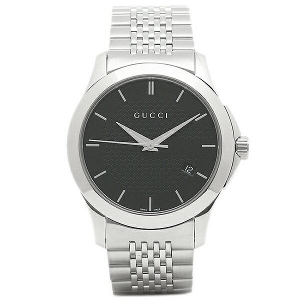 【24時間限定ポイント5倍】グッチ 腕時計 レディース GUCCI YA126480 シルバー ブラック