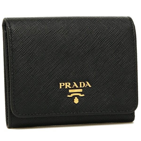 【4時間限定ポイント10倍】プラダ 折財布 レディース PRADA 1MH176 QWA F0002 ブラック
