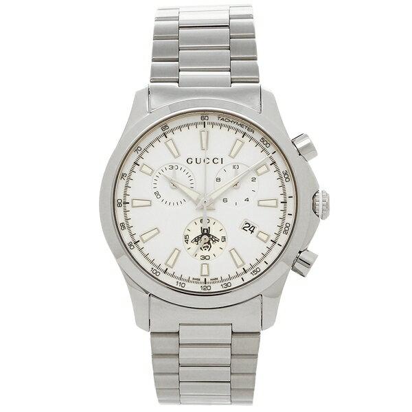【24時間限定ポイント5倍】グッチ 腕時計 メンズ GUCCI YA126472 ホワイト シルバー