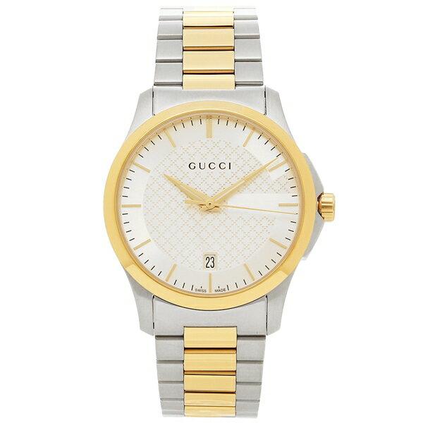 【24時間限定ポイント5倍】グッチ 腕時計 メンズ GUCCI YA126474 イエローゴールド シルバー