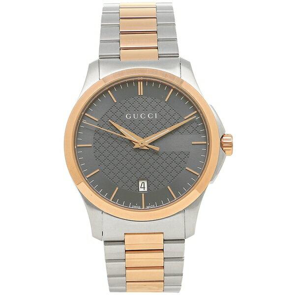 【24時間限定ポイント5倍】グッチ 腕時計 メンズ GUCCI YA126446 グレー シルバー ピンクゴールド