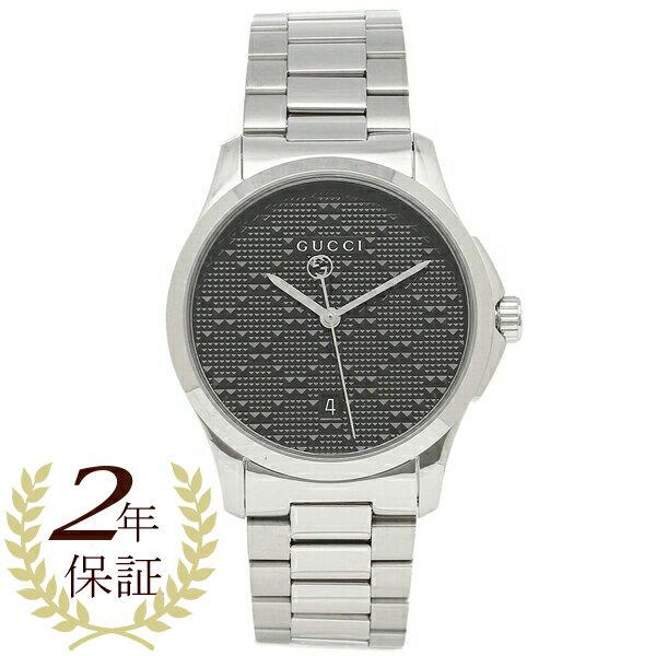 【24時間限定ポイント5倍】グッチ 腕時計 メンズ GUCCI YA126460 ブラック シルバー