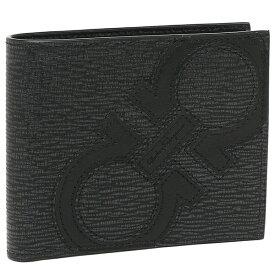 【4時間限定ポイント10倍】【返品OK】フェラガモ 二つ折り財布 メンズ Salvatore Ferragamo 66A277 0693865 グレー ブラック