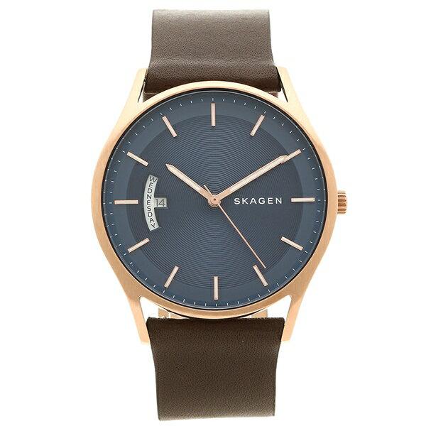 スカーゲン 腕時計 メンズ SKAGEN SKW6395 ネイビーブルー ブラウン ピンクゴールド