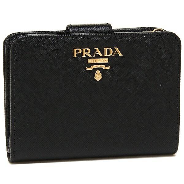【24時間限定ポイント5倍】プラダ 折財布 レディース PRADA 1ML018 QWA F0002 ブラック