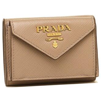 Prada fold wallet Lady's PRADA 1MH021 QWA F0236 beige