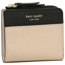 【返品保証】ケイトスペード 折財布 アウトレット レディース KATE SPADE WLRU5430 195 ライトベージュ ブラック