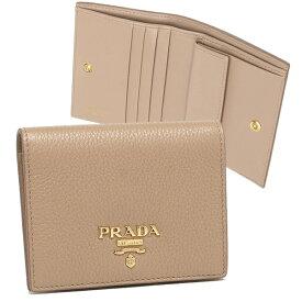 【4時間限定ポイント10倍】【返品OK】プラダ 折り財布 レディース ミニ財布 PRADA 1MV204 2BG5 F0770 ベージュ