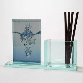 イタリア製品 ガラス製ペンスタンド&フォトフレーム OMODOMO 【PENFOR】クールな机上小物 イタリアモダンデスクアクセサリーはギフトに喜ばれています!