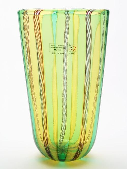 ベネチアングラス・ムラーノグラスの花瓶 Gambaro & Poggi 【PICCININ A CANNE-1734A】グリーン&イエロー(花瓶/ヴェネチア/おしゃれ/モダン/ガラス/新築祝い/開店祝い/結婚祝い)