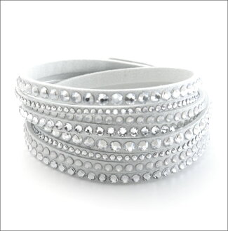 (8 c) winding double-wrap Swarovski Slake Deluxe White Crystal bracelet 5120520
