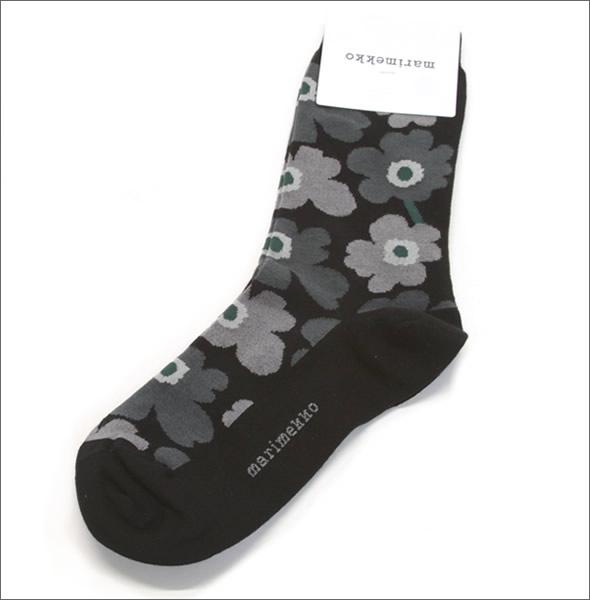 MARIMEKKO マリメッコHIETA UNIKKO 039859 099 black/grey ウニッコ柄 ソックス 靴下【r】【新品・未使用・正規品】