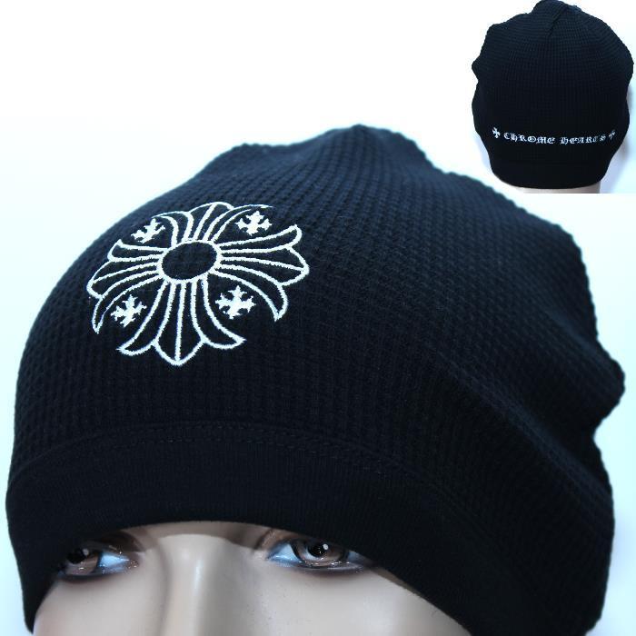 CHROME HEARTS クロムハーツ ニット帽 ブラック 2238 304 2207 CHクロス ロゴ刺繍 帽子 キャップ【新品・未使用・正規品】