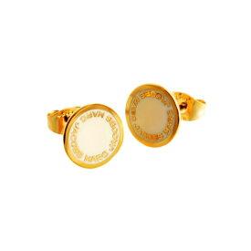 マークジェイコブス MARC JACOBS M0008544-106 Cream ロゴ ディスク エナメル スタッド ピアス Logo Disc Enamel Studs【r】【新品・未使用・正規品】