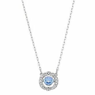 施华洛世奇项链 跳动的心镂空黑天鹅项链饰品 圆形蓝色5279425