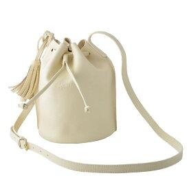イルビゾンテ IL BISONTE A2601 864 Ivory タッセルチャーム付 ショルダーバッグ 巾着ポシェット BUCKET【r】【新品・未使用・正規品】