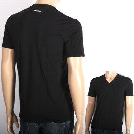 DSQUEARD2 ディースクエアード Vネック Tシャツ ブラック DCM450030 20013 UNDERWEAR ストレッチ混紡 メンズ 【新品・未使用・正規品】売れ筋