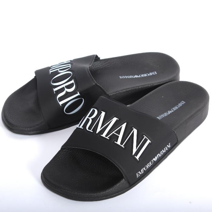 EMPORIO ARMANI エンポリオアルマーニ シャワーサンダル ブラック X4P094 XL792 A120 スポサン ビーチサンダル ビーサン  シューズ 靴