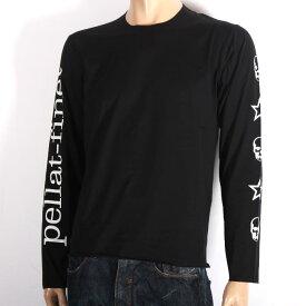 LUCIEN PELLAT-FINET ルシアンペラフィネ 長袖Tシャツ ブラック EVU2107 BLACK スカル ロゴ ロンT メンズ 【新品・未使用・正規品】【売れ筋】