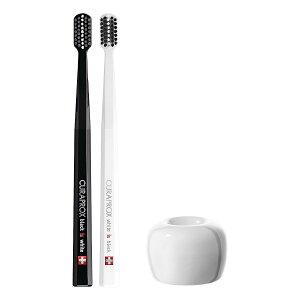 クラプロックス歯ブラシ ブラックisホワイト(黒×白)2本セット+歯ブラシスタンド(白)