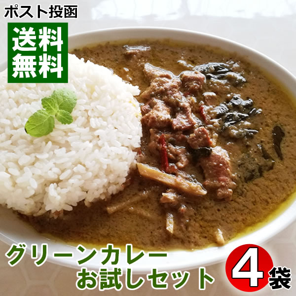【ポスト投函送料無料】ハラール チキングリーンカレー(パウチ) 200g×4食お試しセット
