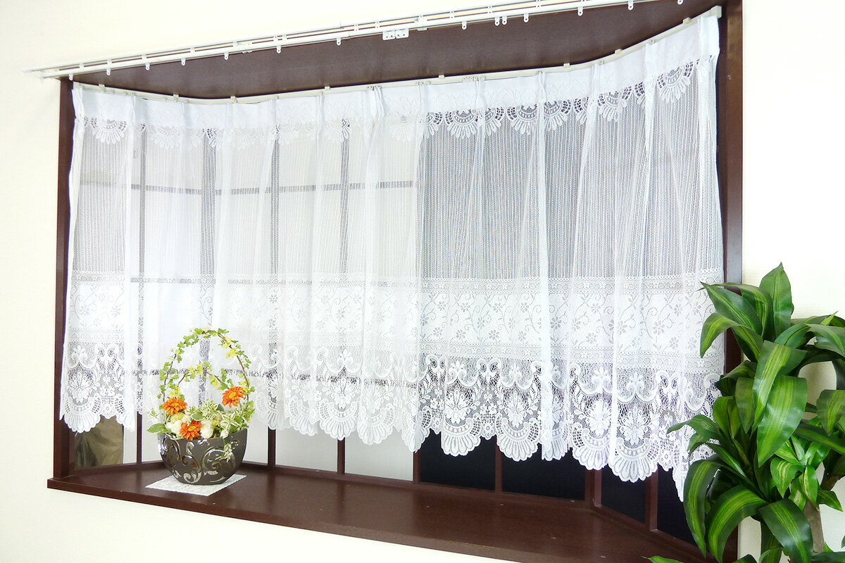 出窓カーテン レース素材のおしゃれでかわいい出窓用レースカーテン ラルク 高さが丈105cmと丈85cmの2種類から選べる 幅100cm×2枚組の両開きタイプ 合わせやすいベーシックな花柄 ストレートタイプの裾形状 既製カーテン あす楽 日本製 洗濯機使用可 普通窓にも取付可
