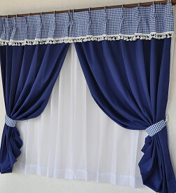 【送料無料】バランス風カーテン上飾り ギンガムチェック綿100% フリンジ付き 取り付け簡単 カーテンバランス 日本製