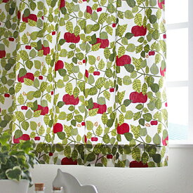 北欧カーテン アルメダールス almedahls アップル グリーン オーダーカーテン 北欧ブランドカーテン リンゴ 葉っぱ リーフ柄 スウェーデン おしゃれ かわいい Victoria Mollgard ヴィクトリア・モッルゴード 緑
