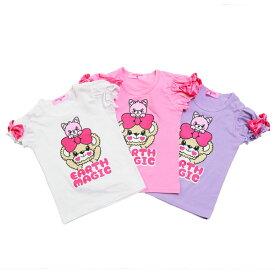 【新作!!】[2019春夏商品]EARTH MAGIC マフィー&ピンキープリント リボンパフスリーブ Tシャツ【合計10,800円(税込)以上お買い上げで送料無料】