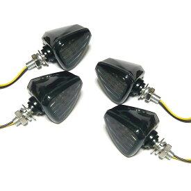 バイク 用 ミニ 三角 LEDウインカー 13LED 左右セット レンズ カラー 3種 スモーク アンバー クリアー オートバイ カスタム パーツ 部品 汎用 4個セット