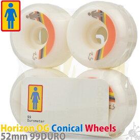スケボー ウィール 52mm 99DU Girl Horizon OG Conical Wheels ガール ホライゾン コニカル スケートボード ハード ストリート トリック ホワイト タイヤ