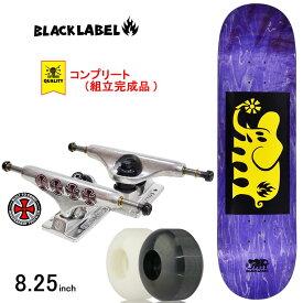 スケボー スケートボード コンプリート 完成品 上級モデル BLACK LABEL ブラックレーベル PRO COMPLETE ELEPHANT BLOCK Yellow/Purple 8.25inch ブランド デッキ インディペンデント トラック コンプリートセット
