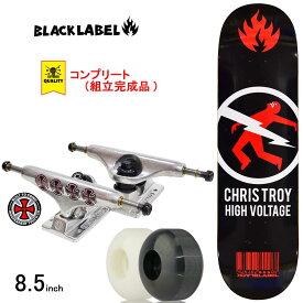 スケボー スケートボード コンプリート 完成品 上級モデル BLACK LABEL ブラックレーベル PRO COMPLETE Chris Troy HIGH VOLTAGE 8.5inch ブランド デッキ インディペンデント トラック コンプリートセット