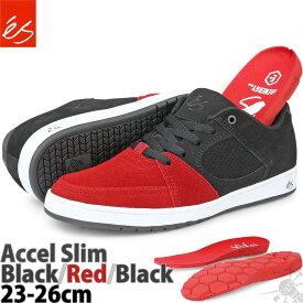 スケボー シューズ 23-26cm エス アクセル スリム ブラック/レッド/ブラック es Accel Slim Black/Red/Black スケートボード ブランド スエード メンズ ローカット US サイズ スニーカー スケシュー スケートシューズ 靴 黒 赤