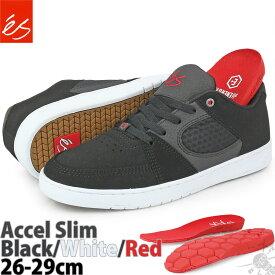 スケボー シューズ 26-29cm エス アクセル スリム ブラック/ホワイト/レッド es Accel Slim Black/White/Red スケートボード ブランド スエード メンズ ローカット US サイズ スニーカー スケシュー スケートシューズ 靴 黒