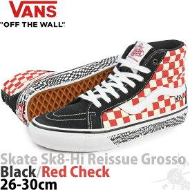バンズ スケートハイ 26-30cm Skate Sk8 Hi Reissue Jeff GROSSO Black/Red Check スケボー リシュー ジェフ グロッソ スケートボード シューズ メンズ 靴 ブランド US企画 メンズ ファッション バンズシューズ スケシュー ハイカット 人気のUSA版 並行輸入 チェック バルク