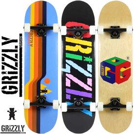 【当店ではボードケースと専用工具付き】スケートボード 純正コンプリート GRIZZLY グリズリー Retro Lines / INCITE / G64 / Complete 8.0インチ スケボー 完成品 初心者