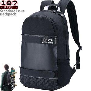 スケボー リュック 187 Killer Bags Standard Issue Backpack Black キラーバッグ スタンダード イシュー バックパック スケートボード メンズ レディース キッズ 通学 通勤 黒 ブラック