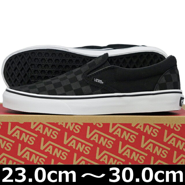 VANS バンズ ヴァンズ Classic Slip-On (Black/Black Checkerboard 23-30cm) スケートボード スケボー クラシック スリッポン キャンバス チェック USA企画 シューズ スニーカー 靴 メンズ レディース