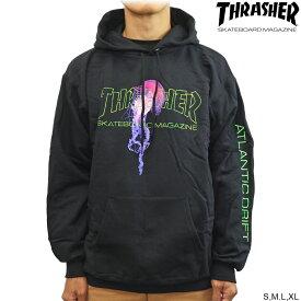 Thrasher スラッシャー パーカー フード Atlantic Drift P/O Hood Black アトランティックドリフト スケートボード スケボー フーディー プルオーバー