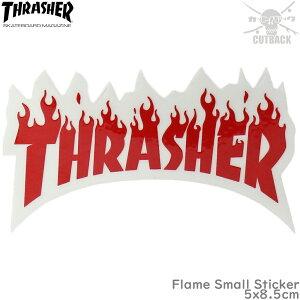 スケボー ステッカー フレーム レッド Thrasher スラッシャー Flame Small Sticker スケートボード シール 赤 ブランド スーツケース 車 バイク オシャレ アイテム