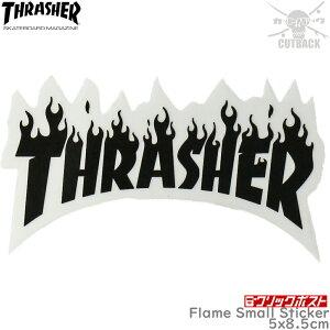 スケボー ステッカー フレーム ブラック Thrasher スラッシャー Flame Small Sticker スケートボード シール 黒 ブランド スーツケース 車 バイク オシャレ アイテム