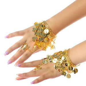 ベリーダンス用ブレスレット 指輪付き ベリーダスコイン アクセサリー・コスチューム 金 銀2カラー DP009
