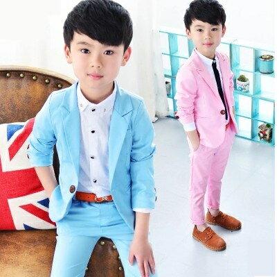 子供スーツセット [ジャケット/長ズボン]子供スーツ  ベビー 男の子 スーツキッズ 長袖ジャケット  90cm 100cm 110cm 120cm 130cm 140cm 無地 水色 ピンク