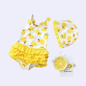 イェロー 水着 女の子 子供用 ワンピース型 キッズ水着 キュート 夏のワンピース かわいい キャップ付き みずぎ yy353z