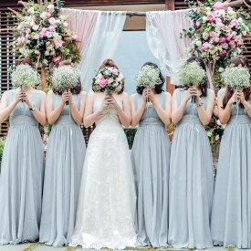 ウェディングドレス ゲストドレス ブライズメイド ドレスお揃いドレス パーテイードレス フォーマル 二次会 演奏会 披露宴 結婚式 発表会 パープル、シャンペン グレー ピンクロングドレス lf129z