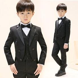c3426dc04a93f 子供スーツ 男の子 キッズ ベビー フォーマル 黒 子供タキシード 燕尾服 お買い得 4点セット キッズスーツ