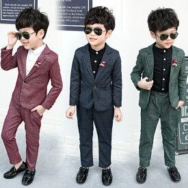 スーツセット [ジャケット、ズボン]子供スーツ ベビー男の子 スーツキッズ グリーン レッド グレーブル- 100cm 110cm 120cm 130cm 140cm 150cm et863z
