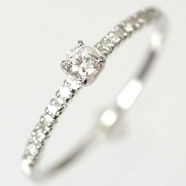 ダイヤモンド リング 天然ダイヤモンド0.15ct×ホワイトゴールド エレガンスリング(指輪) 【 婚約指輪 】【 プロポーズリング 】