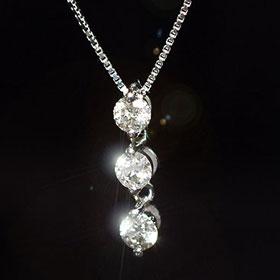 ダイヤモンド ネックレス トリロジー 天然ダイヤモンド0.2ct×ホワイトゴールド スリーストーンペンダント(ネックレス)【あす楽対応】
